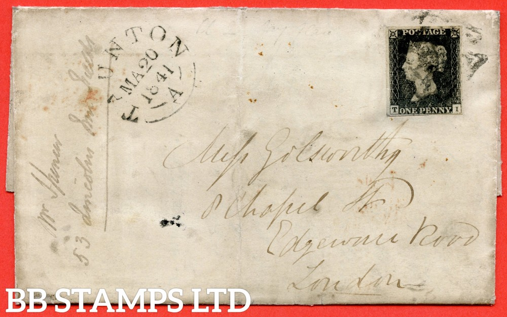 "SG. 2. A1 (2). AS5. "" TI "". 1d black. Plate 1b. A fine used example on cover from TAUNTON to LONDON dated 20th March 1841. With the listed "" Burr rubs to base line and cancelled by a BLACK maltese cross "" varieties."