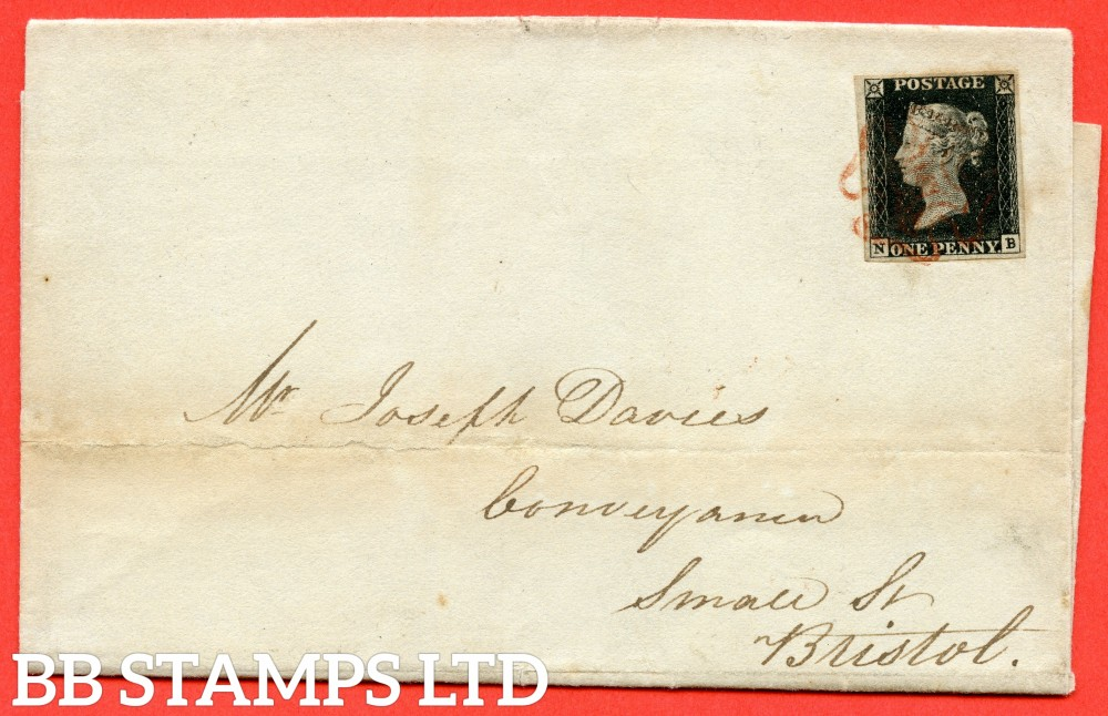"""SG. 2 c. A1 (2) h. AS5. """" NB """". 1d black. Plate 1b. A fine used example on cover from NEWPORT to BRISTOL dated 11th October 1840. With the listed """" Horizontal guide line SE square """" variety. Also """" Ray flaws 10 / 7 NW square """" variety."""