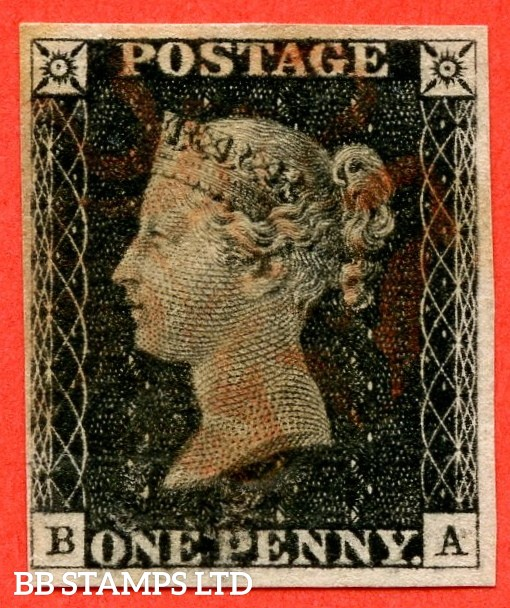 "SG. 2. A1 (2). AS5. "" BA "". 1d black. Plate 1b. A fine used example cancelled by a red maltese cross. With the "" Ray flaws 10 / 7 "" variety."
