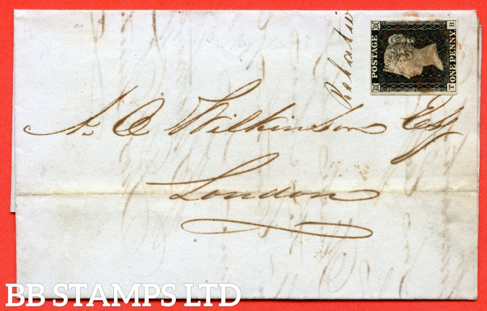 "SG. 2. A1 (2). AS5. "" TB "". 1d black. Plate 1b. A good used example on cover from STOWMARKET to LONDON dated 10th December 1840. With the "" Ray Flaws 10/7 NW square and slight basal shift "" varieties."