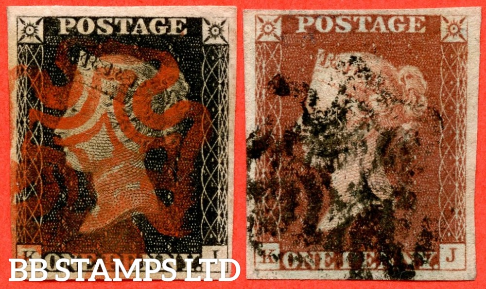 """SG. 2 & 7. A1 (2) & A2. AS5 & AS6. """" KJ """". 1d black. Plate 1b. A good used matched pair with the """" Ray flaws 10 / 7 NW square and top line NE square weak """" varieties."""