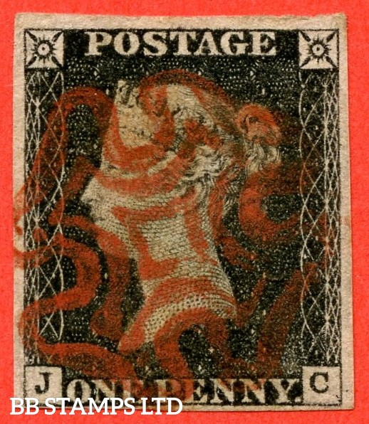 """SG. 2. A1 (2). AS15 f. """" JC """". 1d Black. Plate 2. A fine used example cancelled by a light red maltese cross. With the listed variety """" without ray flaws FF - JL """". Also """" Horizontal guide line through SW & SE squares """" variety."""