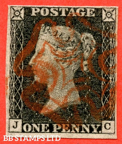 "SG. 2. A1 (2). AS15 f. "" JC "". 1d Black. Plate 2. A fine used example cancelled by a light red maltese cross. With the listed variety "" without ray flaws FF - JL "". Also "" Horizontal guide line through SW & SE squares "" variety."