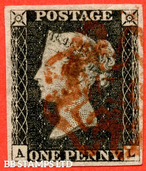 """SG. 2 c. A1 (2) h. AS15. """" AL """". 1d black. Plate 2. State 1. A good used example with the listed variety """" Two vertical guide lines NE sq. """" and constant variety """" Ray flaws 10 / 7 NW square """"."""