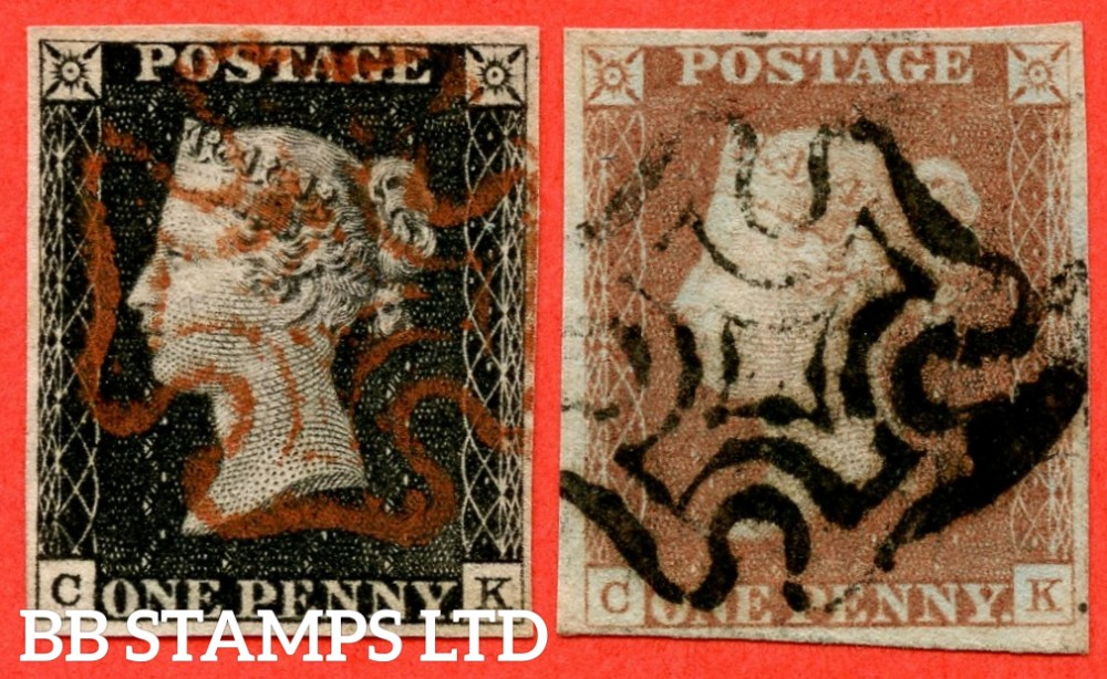 "SG. 2 & 7. A1 (2) & A2. AS15 & AS18. "" CK "". 1d Black & 1d Red. Plate 2. A very fine used matched pair both with the "" Ray flaws 10 / 7 NW square "" variety."
