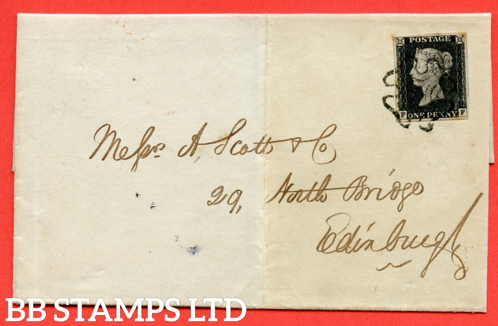 "SG. 2. A1 (2). AS15 f & m. "" FF "". 1d Black. Plate 2. A fine used example on cover from MUSSELBURGH to EDINBURGH dated 28th May 1841. With the listed "" without ray flaws FF - JL and cancelled by a BLACK MX "" varieties."
