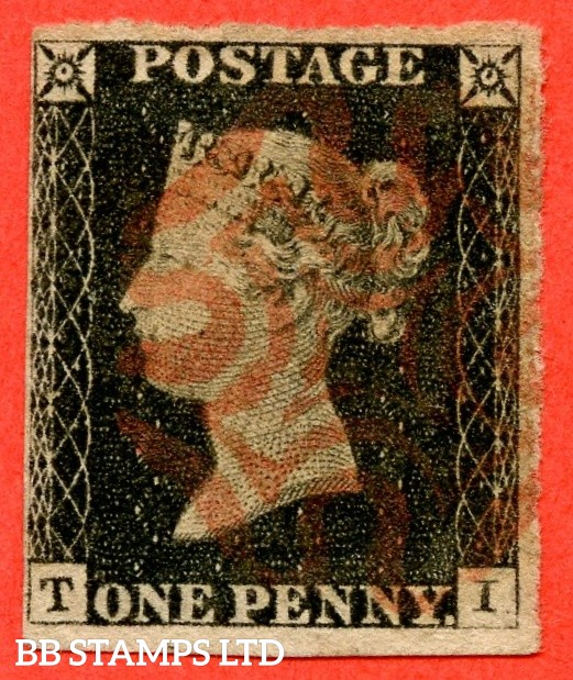 "SG. 2 c. A1 (2) h. AS15. "" TI "". 1d black. Plate 2. A fine used example cancelled by a red maltese cross. With the listed "" Vertical guide line NE sq. "" variety. Also "" Ray Flaw 10 / 7 NW Square and dot in SE square "" varieties."