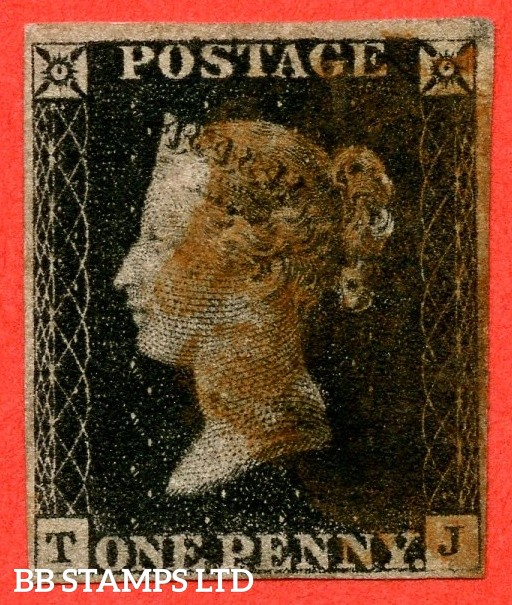 """SG. 1 c. A1 (2) h. AS14. """" TJ """". 1d intense black. Plate 2. A good used example cancelled by a red maltese cross. With the listed """" Vertical guide line NE sq. """" variety. Also """" Ray Flaw 10 / 7 NW Square """" variety."""