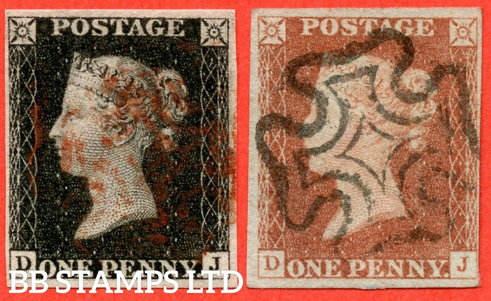 """SG. 2 & 7. A1 (2) h & A2. AS15 & AS18. """" DJ """". 1d Black & 1d Red. Plate 2. A fine used matched pair with the listed """" vertical guide line NE square """" variety. Also """" ray flaw 7 NW square and horizontal guide on bottom margin """" varieties."""