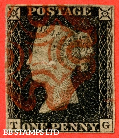 """SG. 2 c. A1 (2) h. AS15. """" TG """". 1d black. Plate 2. A fine used example cancelled by a red maltese cross. With the listed """" Vertical guide line NE sq. """" variety. Also """" Ray Flaw 10 / 7 NW Square """" variety. Tiny thin and so a great spacefiller."""