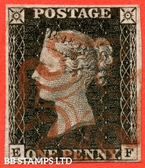 "SG. 2 c. A1 (2) h. AS15 b. "" EF "". 1d black. Plate 2. A very fine used example cancelled by a red maltese cross. With the listed "" Vertical guide line NE square "" variety. Also "" Ray Flaw 7 NW Sq. "" variety."