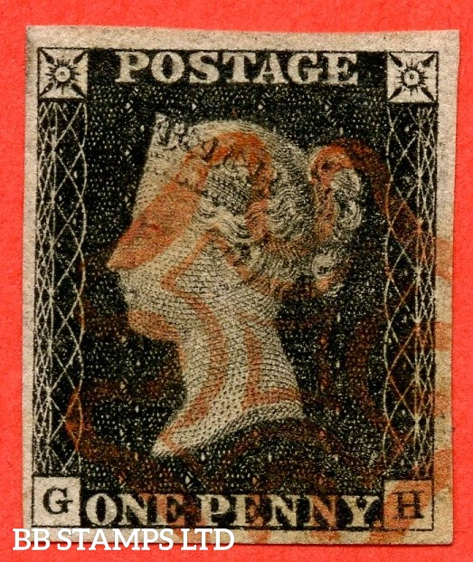 """SG. 2. A1 (2). AS15 f. """" GH """". 1d Black. Plate 2. A very fine used example cancelled by a red maltese cross. With the listed variety """" without ray flaws FF - JL """". Also """" Dot in right margin """" variety."""