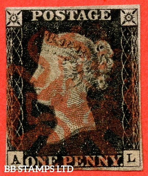 "SG. 2 c. A1 (2) h. AS15. "" AL "". 1d black. Plate 2. State 1. A fine used example with the listed variety "" Two vertical guide lines NE sq. "" and constant variety "" Ray flaws 10 / 7 NW square ""."
