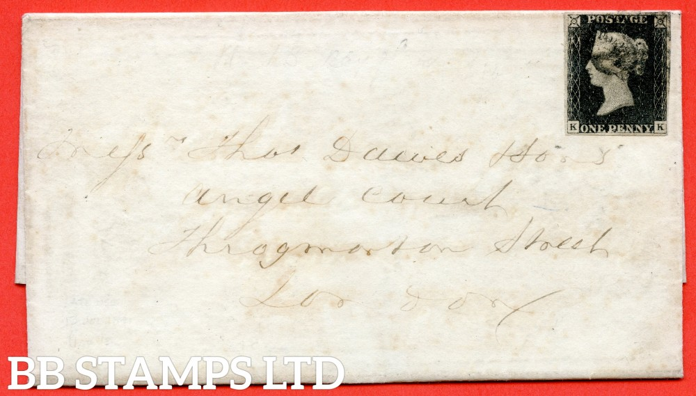 "SG. 2. A1 (2). AS15 e & m. "" KK "". 1d Black. Plate 2. A good used example on cover from FEVERSHAM to LONDON dated 13th July 1841. With the "" Ray Flaws 10/7 NW square and guide dot outside SE corner "" varieties."