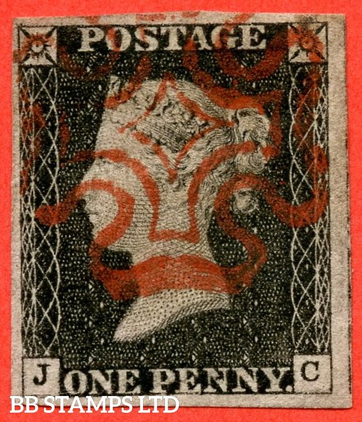 "SG. 2. A1 (2). AS15 f. "" JC "". 1d Black. Plate 2. A very fine used example cancelled by a light red maltese cross. With the listed variety "" without ray flaws FF - JL "". Also "" Horizontal guide line through SW & SE squares "" variety."