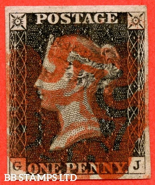 "SG. 2. A1 (2). AS20. "" GJ "". 1d black. Plate 3. A fine used example cancelled by a red maltese cross."
