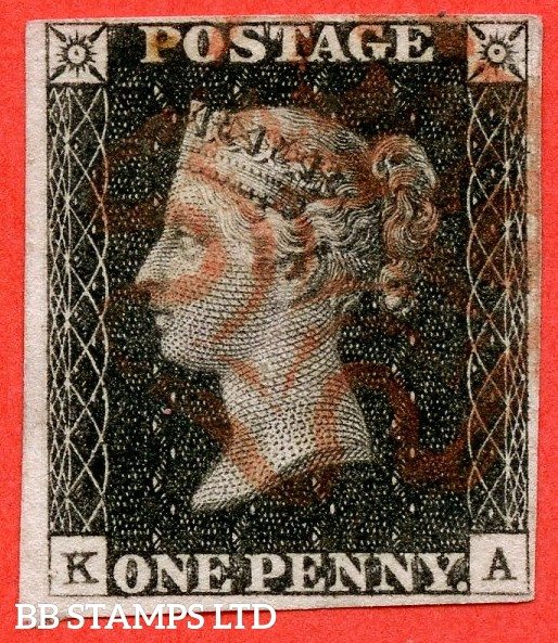 "SG. 2. A1 (2). AS20. "" KA "". 1d black. Plate 3. A fine used example cancelled by a red maltese cross. With the "" Die Dot "" variety."