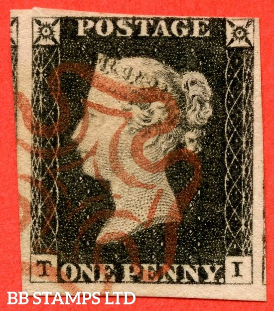 "SG. 2. A1 (2). AS20. "" TI "". 1d black. Plate 3. A very fine used example cancelled by a red maltese cross."