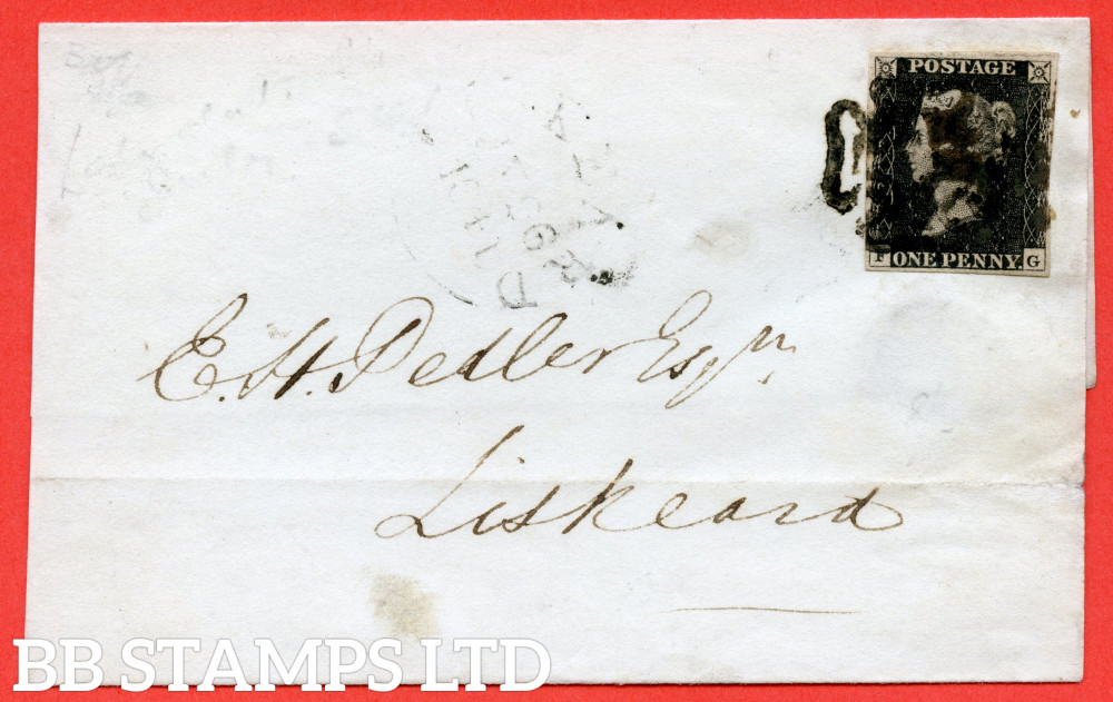 """SG. 2. A1 (2). AS20. """" FG """". 1d black. Plate 3. A good used example on cover arriving at LISKEARD 20th July 1841."""