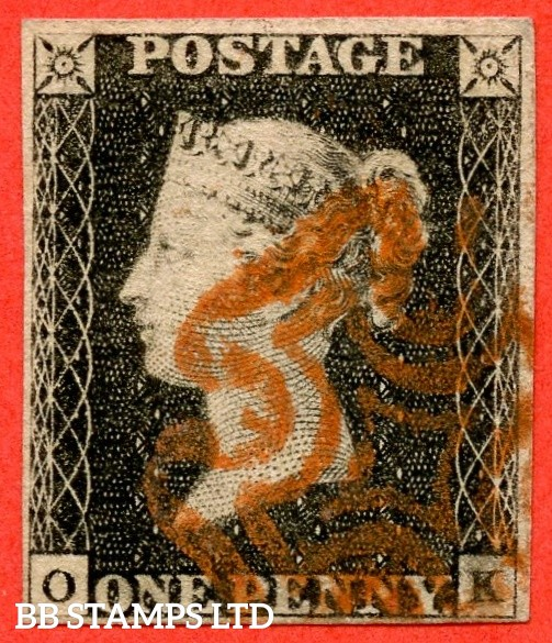 """SG. 2. A1 (2). AS20. """" OK """". 1d black. Plate 3. A fine used example cancelled by a red maltese cross with the """" Blurring on and around ' K ' in SE square """" variety."""
