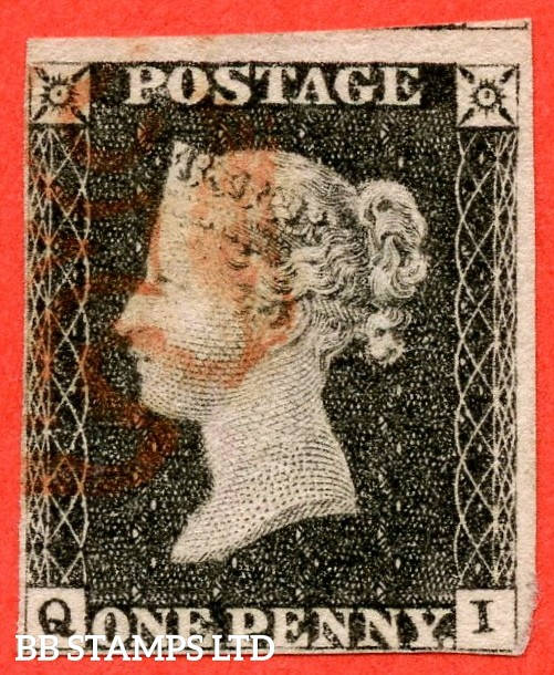 "SG. 3. A1 (3). AS21. "" QI "". 1d grey black. Plate 3. A very fine used example with the "" Bottom line extends left and left side line extends below "" varieties."