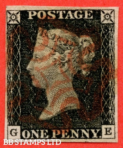 """SG. 2. A1 (2). AS20. """" GE """". 1d black. Plate 3. A fine used example cancelled by a red maltese cross."""