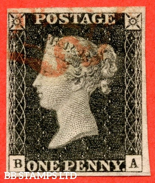 "SG. 2. A1 (2). AS20. "" BA "". 1d black. Plate 3. A fine used example cancelled by a red maltese cross with the "" Scratch below SE square "" variety."