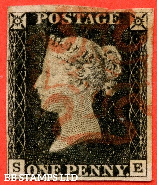 """SG. 2. A1 (2). AS20. """" SE """". 1d black. Plate 3. A fine used example cancelled by a red maltese cross."""