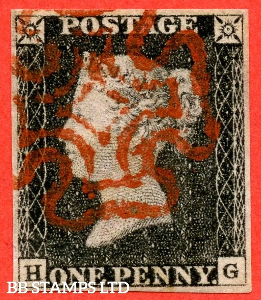 """SG. 3. A1 (3). AS16 f. """" HG """". 1d grey black. Plate 2. A very fine used example cancelled by a red maltese cross. With the listed variety """" without ray flaws FF - JL """". variety."""