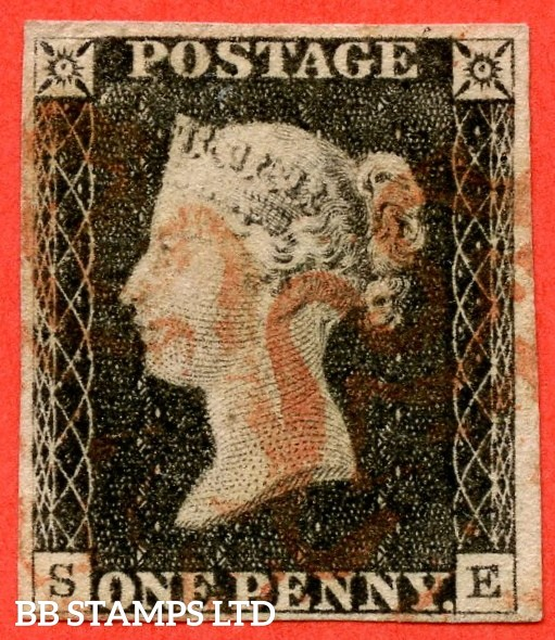 "SG. 2. A1 (2). AS20. "" SE "". 1d black. Plate 3. A fine used example cancelled by a red maltese cross."