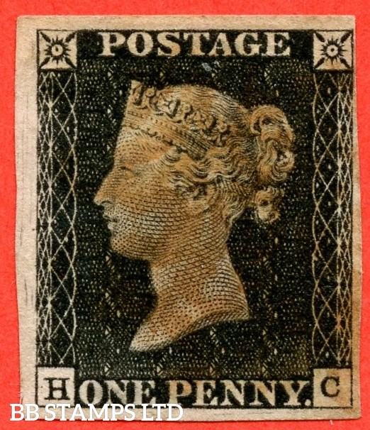 "SG. 2. A1 (2). AS20. "" HC "". 1d black. Plate 3. A good used example cancelled by a red maltese cross. With the "" Scratches in left margin "" variety."