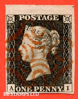 """SG. 3. A1 (3). AS21. """" AI """". 1d grey black ( worn ). Plate 3. A superb used top marginal example cancelled by a red maltese cross with the """" Guide dot outside NE corner """" variety."""