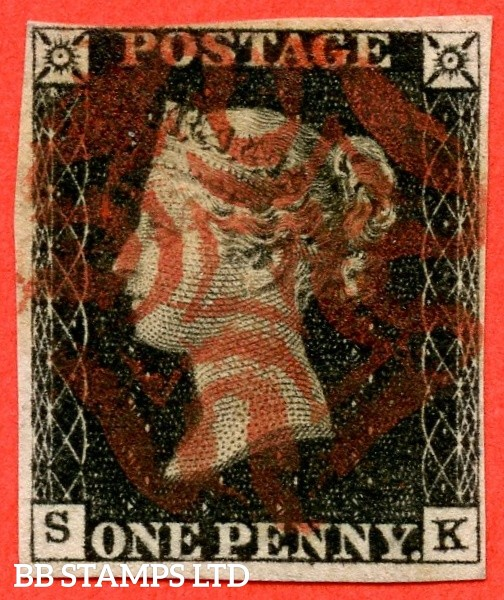"SG. 2. A1 (2). AS23. "" SK "". 1d black. Plate 4. A fine used example cancelled by a red maltese cross."