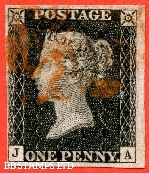 "SG. 2 d. A1 (2) i. AS23. "" JA "". 1d black. Plate 4. A fine used example cancelled by a red maltese cross. With the listed variety "" Horizontal guide line through value "". Also Scattered dots on NE and SE squares and in the lower and right margins."