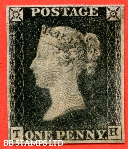 "SG. 2. A1 (2). AS23. "" TH "". 1d black. Plate 4. A good used example cancelled by a red maltese cross with the "" Vertical scratch in and above NW square "" variety."