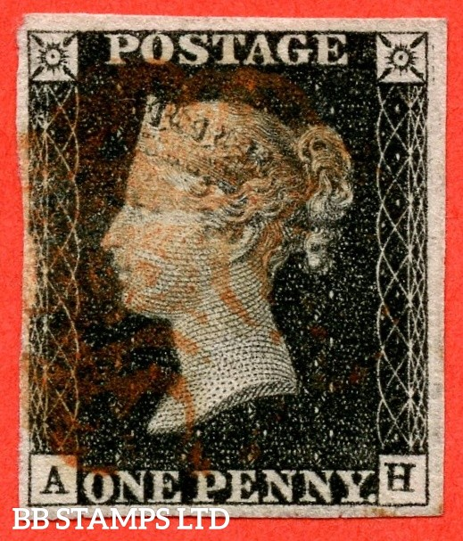 """SG. 2. A1 (2). AS23. """" AH """". 1d black. Plate 4. A good used example cancelled by a red maltese cross with the """" ' H ' defective on bottom of left upright """" variety."""