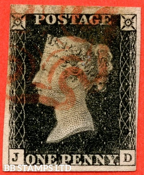 "SG. 2. A1 (2). AS23. "" JD "". 1d black. Plate 4. A fine used example cancelled by a red maltese cross. With the "" Dot on top margin above ' T ' of ' POSTAGE ' and dot on ' Y ' of ' PENNY ' "" varieties."