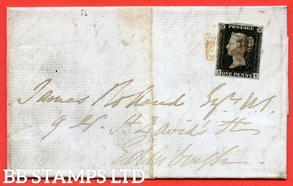 """SG. 2. A1 (2). AS23. """" EE """". 1d black. Plate 4. A fine used example on cover from STRONTIAN to EDINBURGH dated 6th February 1841. With the """" Dot to left of ' E ' in SW sqaure """" variety."""