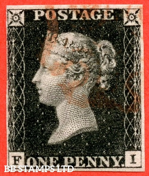 "SG. 2. A1 (2). AS23. "" FI "". 1d black. Plate 4. A fine used example cancelled by a red maltese cross."