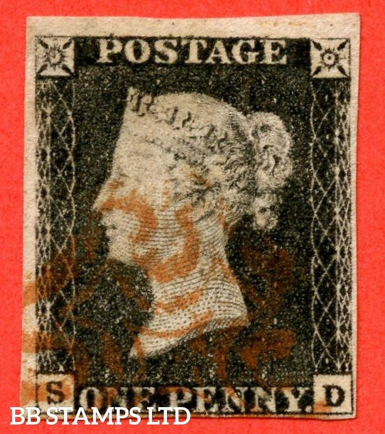"SG. 2 bb. A1 (2) f. AS23 a. "" SD "". 1d black. Plate 4. A good used example cancelled by a red maltese cross. With the listed variety "" Re-entry ""."