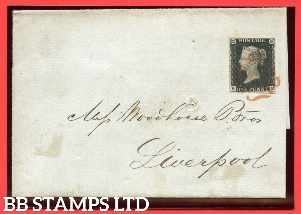 """SG. 2. A1 (2). AS23. """" SE """". 1d black. Plate 4. A fine used example on cover from LONDON to LIVERPOOL dated 9th October 1840. With the """" Scratches in right margin """" variety."""