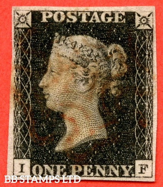 "SG. 2. A1 (2). AS23. "" IF "". 1d black. Plate 4. A good used example cancelled by a red maltese cross. With the "" Dot on lower margin below ' E ' of ' ONE' and blurred mark in NW square "" varieties."