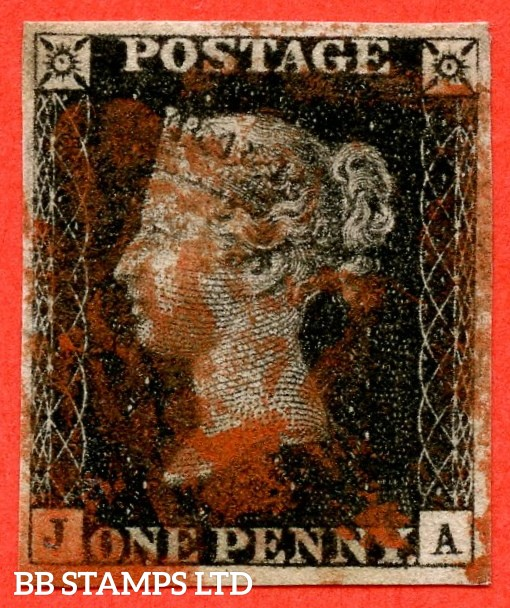 """SG. 2 d. A1 (2) i. AS23. """" JA """". 1d black. Plate 4. A good used example cancelled by a red maltese cross. With the listed variety """" Horizontal guide line through value """". Also Scattered dots on NE and SE squares and in the lower and right margins."""