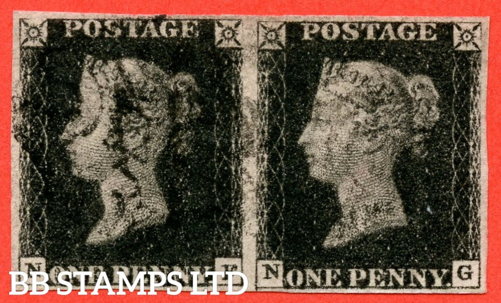 "SG. 1. A1 (1). AS24. "" NF NG "". 1d intense black. Plate 5. A fine used horizontal pair cancelled by a black maltese crosses. "" ' NG ' with the left side line extends below "" variety."
