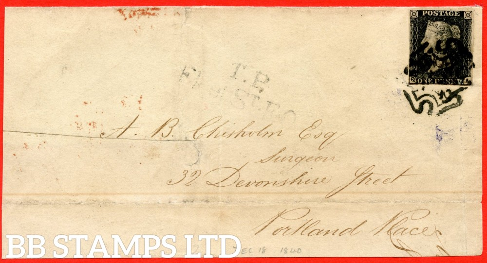 """SG. 2. A1 (2). AS25. """" QA """". 1d black. Plate 5. State 1. A good used example on LONDON cover dated 18th December 1840. With EXPERIMENTAL use of the BLACK maltese cross."""