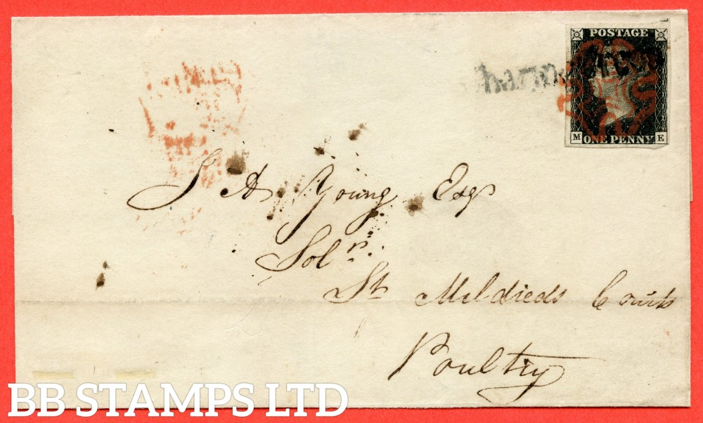 """SG. 2. A1 (2). AS25. """" ME """". 1d black. Plate 5. A fine used example on cover used in LONDON dated 4th August 1840. Cancelled by Red Maltese Cross and straight line """" CHARRING CROSS """". With the """" Bottom line extends right """" variety."""