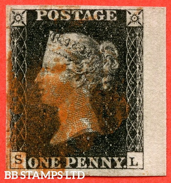 "SG. 2. A1 (2). AS25. "" SL "". 1d black. Plate 5. A good used example cancelled by a red maltese cross."