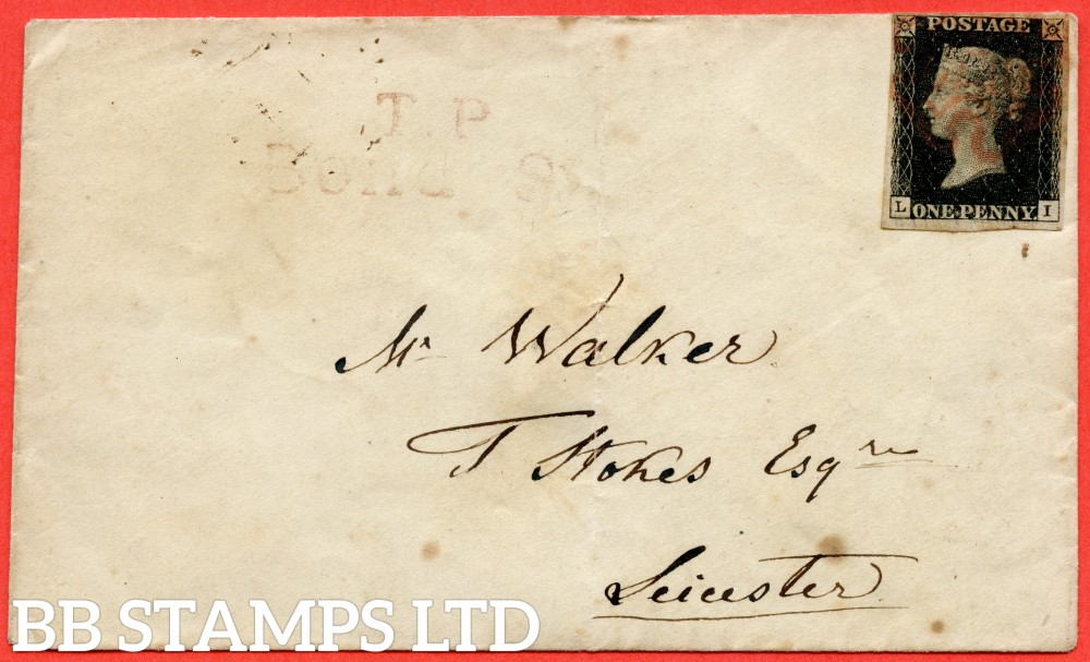 """SG. 2 c. A1 (2) h. AS25. """" LI """". 1d black. Plate 5. State 1. A good used example on cover from LONDON to LEICESTER dated 18th September 1840. With the """" Horizontal guide line SW square """" variety."""