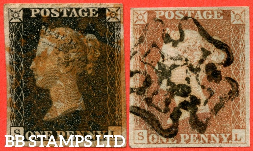 """SG. 2 & 7. A1 (2) & A2. AS25 & AS26. """" SL """". 1d black. Plate 5. A good used matched pair."""
