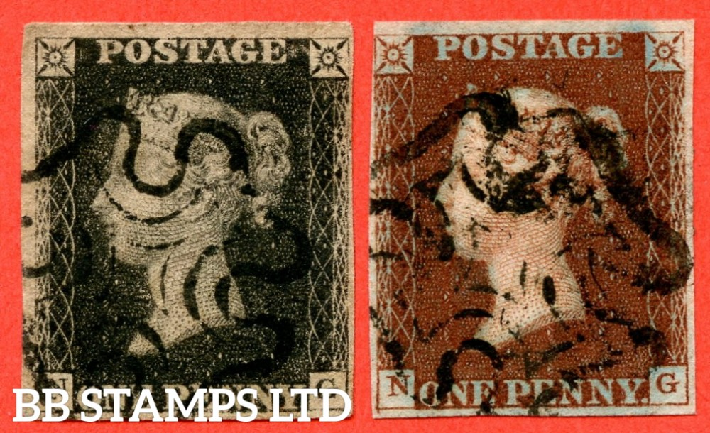 """SG. 2 & 7. A1 (2) & A2. AS25 & AS26. """" NG """". 1d black. Plate 5. A fine used matched pair. With the """" left side line extends below """" variety."""